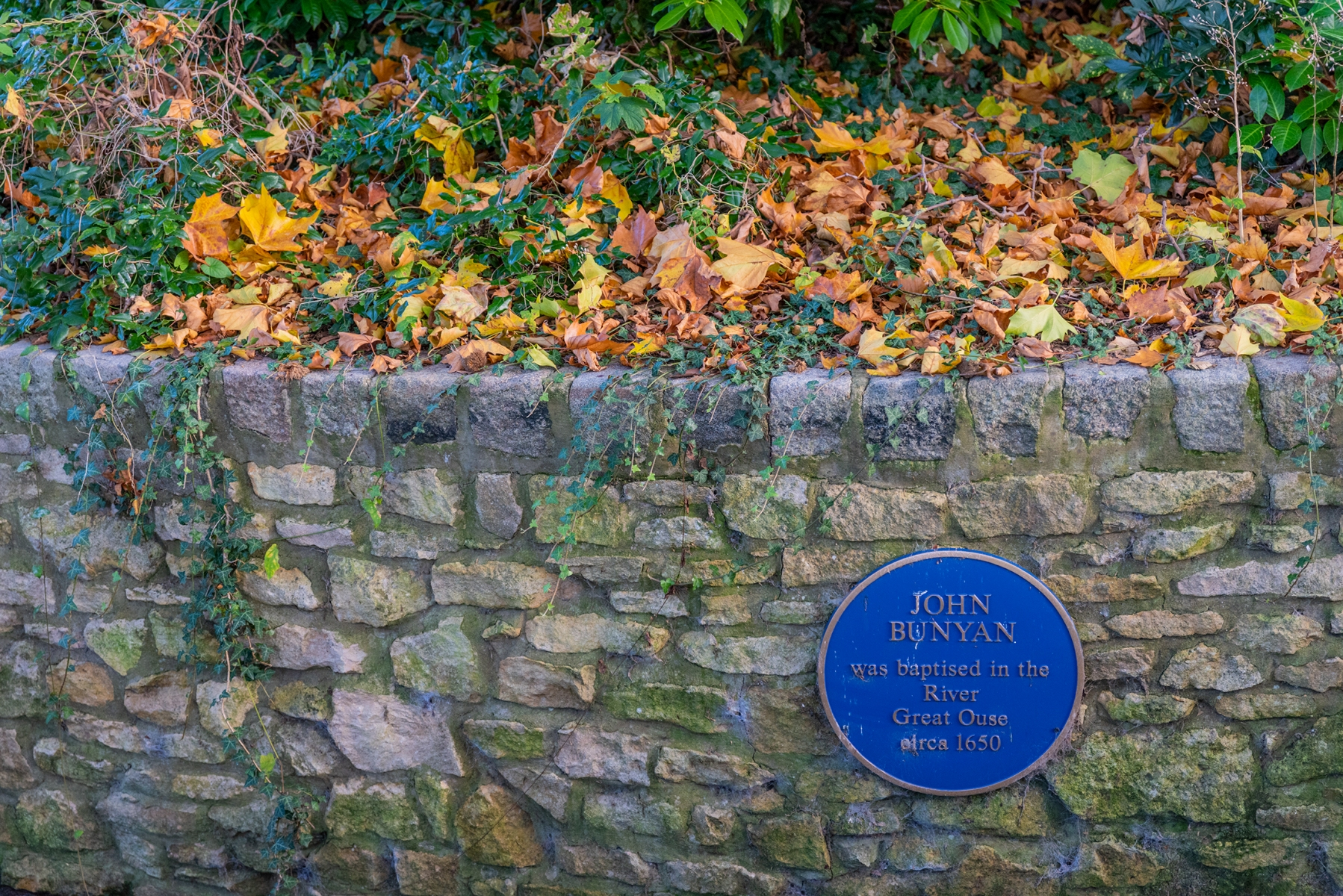 John Bunyan plaque, River Great Ouse, The Embankment, Bedford in Autumn