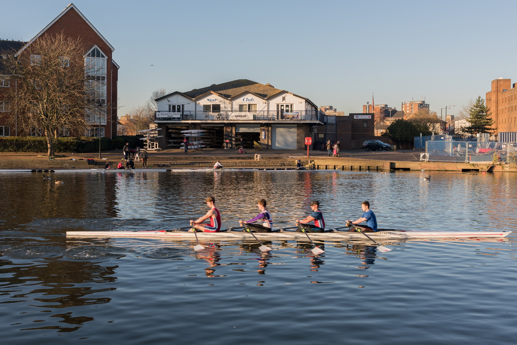 Bedford Rowing Club members on River Great Ouse, Bedford, Bedfordshire