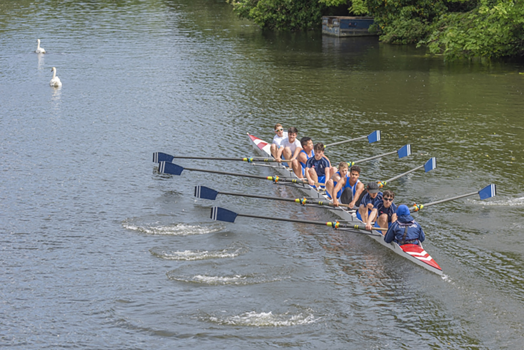 Members of Bedford Rowing Club on River Great Ouse, Bedford